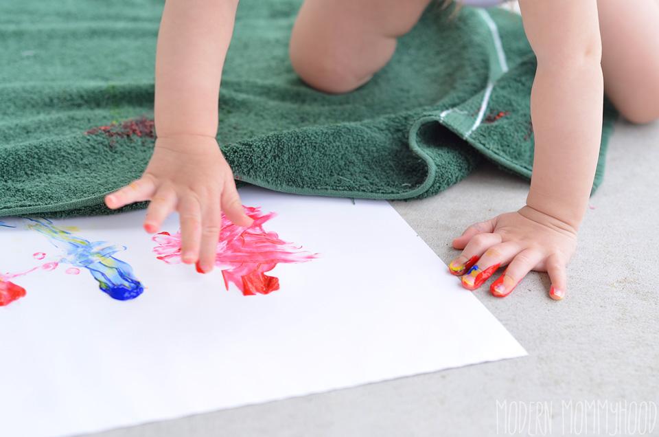 toddler finger painting fun