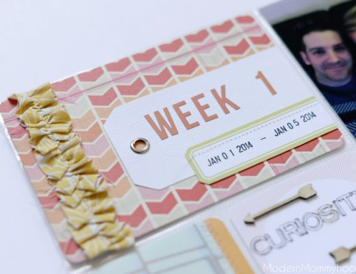Project Life: Week 1 2014 Title Card with Fabric Ruffle