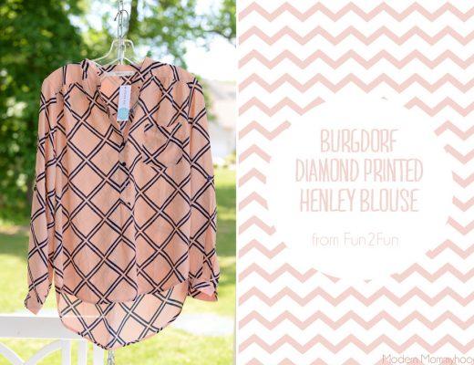 June Stitch Fix #11 Burgdorf Diamond Printed Henley Blouse