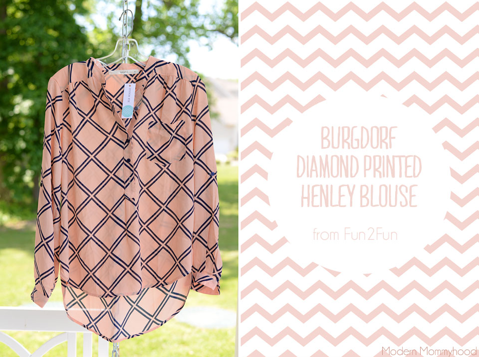 June Stitch Fix #11 Burgdorf Diamond Printed Henley Blouse