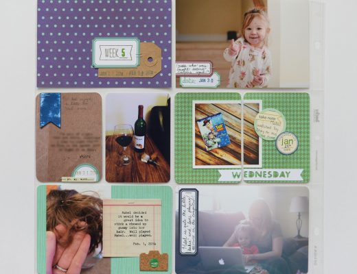 Project Life - Week 5. One page spread and simple. Blue and green!