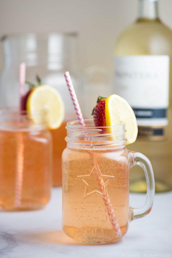 Lemon Berry Wine Spritzer - A refreshing combination of pinot grigio, strawberries and lemon lime soda.