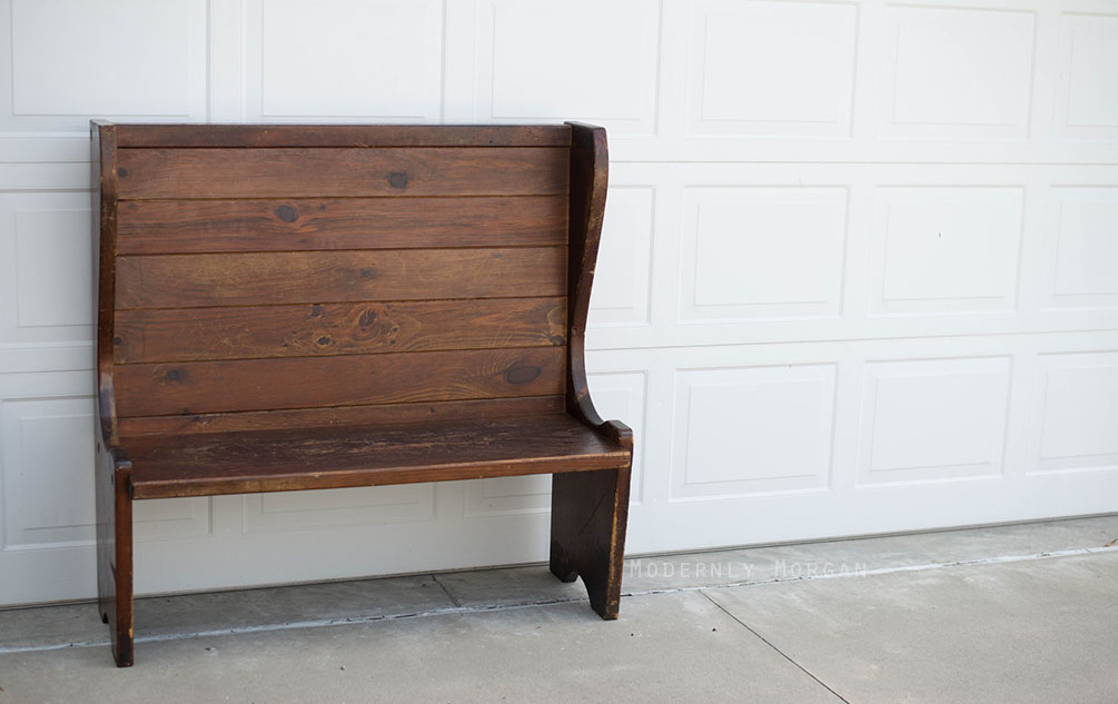 Antique Train Station Bench - vintage entryway find
