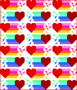 Rainbow Heart Quilt Pattern